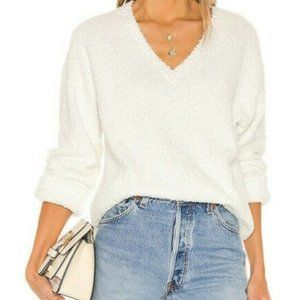 Sanctuary Women's White V-Neck Teddy Sweater NWT